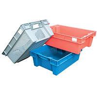 Ящик пластиковый перфорированный/сплошной 600х400х200 мм в ассортименте