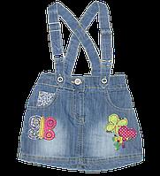 Детский джинсовый сарафан р 92-104 (4) 2-3 года для девочки летний осенний весенний лето весна осень 2030 Сини
