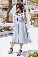 Приталенное женское льняное платье на молнии 48, 50, 52, 54