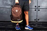 Рюкзак Nike городской стильный кожаное дно желтое, цвет коричневый, фото 1
