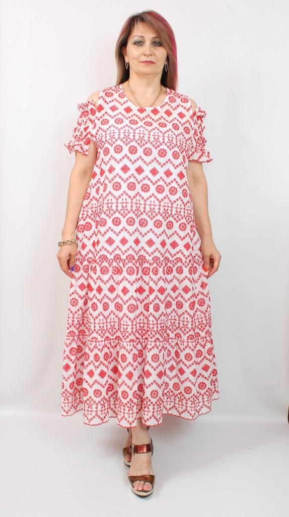 Турецкое летнее платье с оригинальным принтом, 50-60