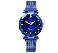 Синие модные наручные женские часы с браслетом на магните