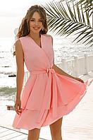 Женское платье на запах с двойной юбкой клеш и поясом