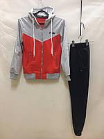 """Спортивный костюм подростковый для девочки """"Fila"""" от 10 до 14 лет, красный с серым"""