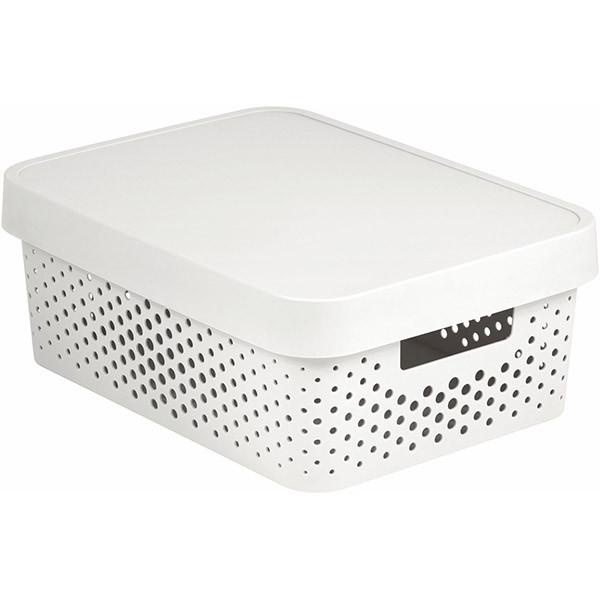 Коробка пластиковая с крышкой Curver Infinity 229167 белая ажурная 11 л