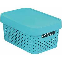 Коробка пластиковая с крышкой Curver Infinity 229118 бирюзовая ажурная 4.5 л