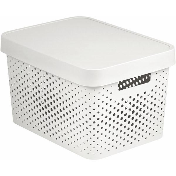 Коробка пластиковая с крышкой Infinity 229153 белая ажурная 17 л
