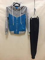 """Спортивный костюм подростковый для девочки """"Fila"""" от 10 до 14 лет, синий с серым"""