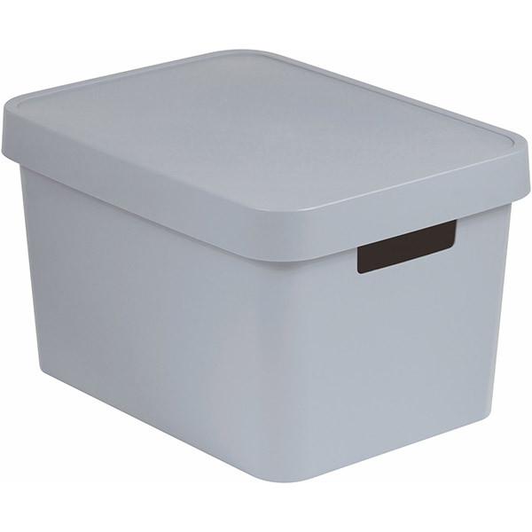 Коробка пластиковая с крышкой Infinity 229241 серая 17 л