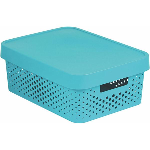 Коробка пластиковая с крышкой Curver Infinity 229166 бирюзовая ажурная 11 л