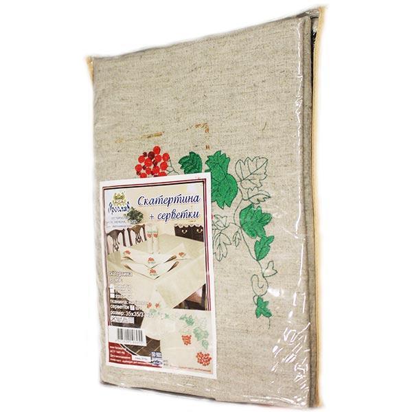 Комплект Скатерть 150x150 см + 4 салфетки в ассортименте