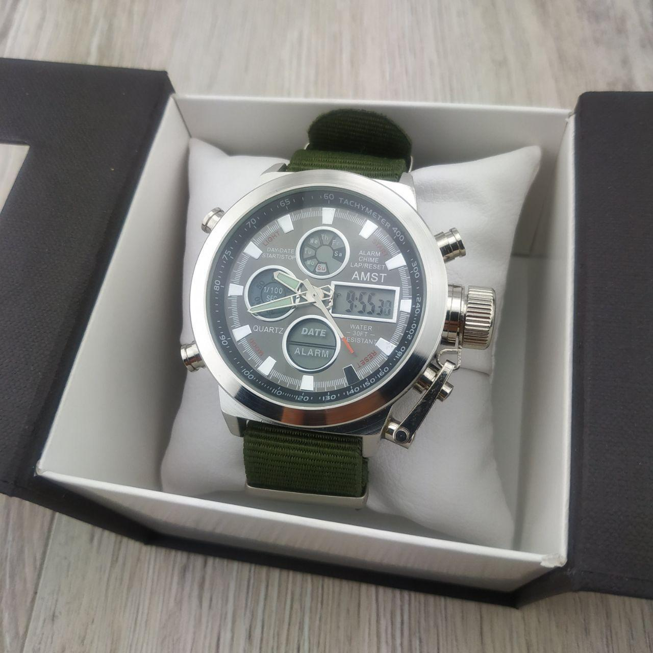 d7dbd3e35375 Мужские армейские наручные часы Amst am 3003 silver black на военном  ремешке амст