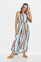 Женское длинное легкое платье-сарафан на бретелях, фото 1