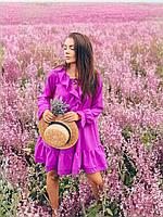 Платье с оборками свободного кроя фуксия, фото 1