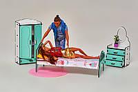 Комплект мебели для домика кукольного, Спальня бело-мятный