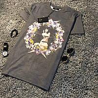 Мужская стильная летняя футболка в стиле Givenchy серая