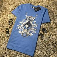 Мужская летняя футболка в стиле Givenchy синяя, фото 1