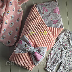 Конверт-одеяло минки на синтепоне пудровый