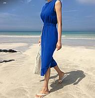 Летнее женское платье на резинке лен 40 42 44 46 48 50 52 54 56 58 60 размер