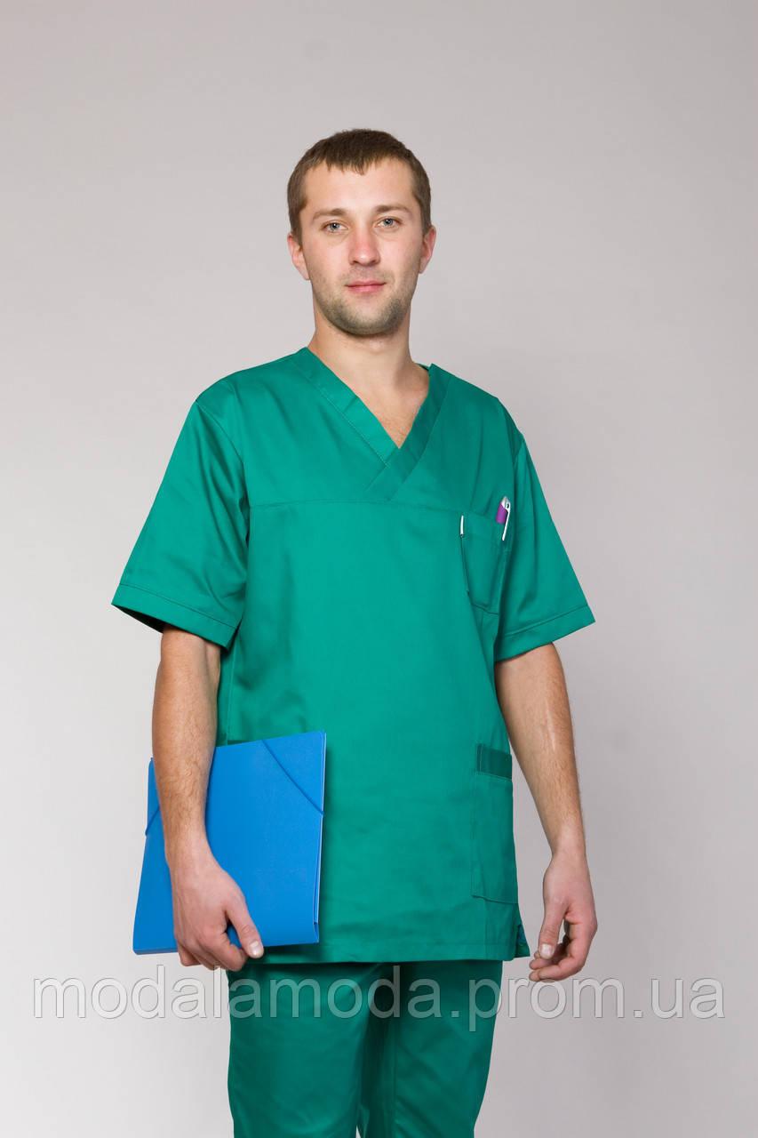 Мужской медицинский костюм однотонный зеленого цвета