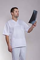 Мужской медицинский костюм белого цвета однотонный с коротким рукавом
