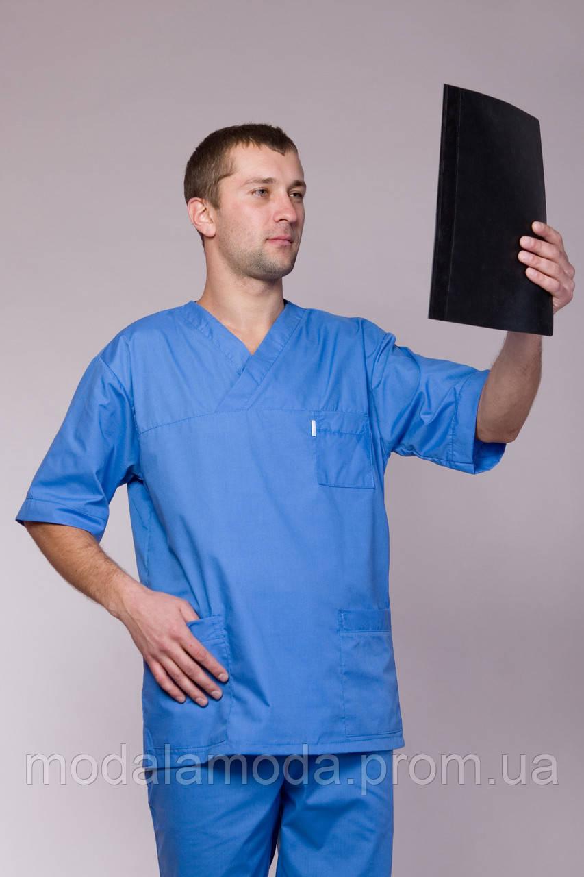 Мужской медицинский костюм синего цвета однотонный с коротким рукавом