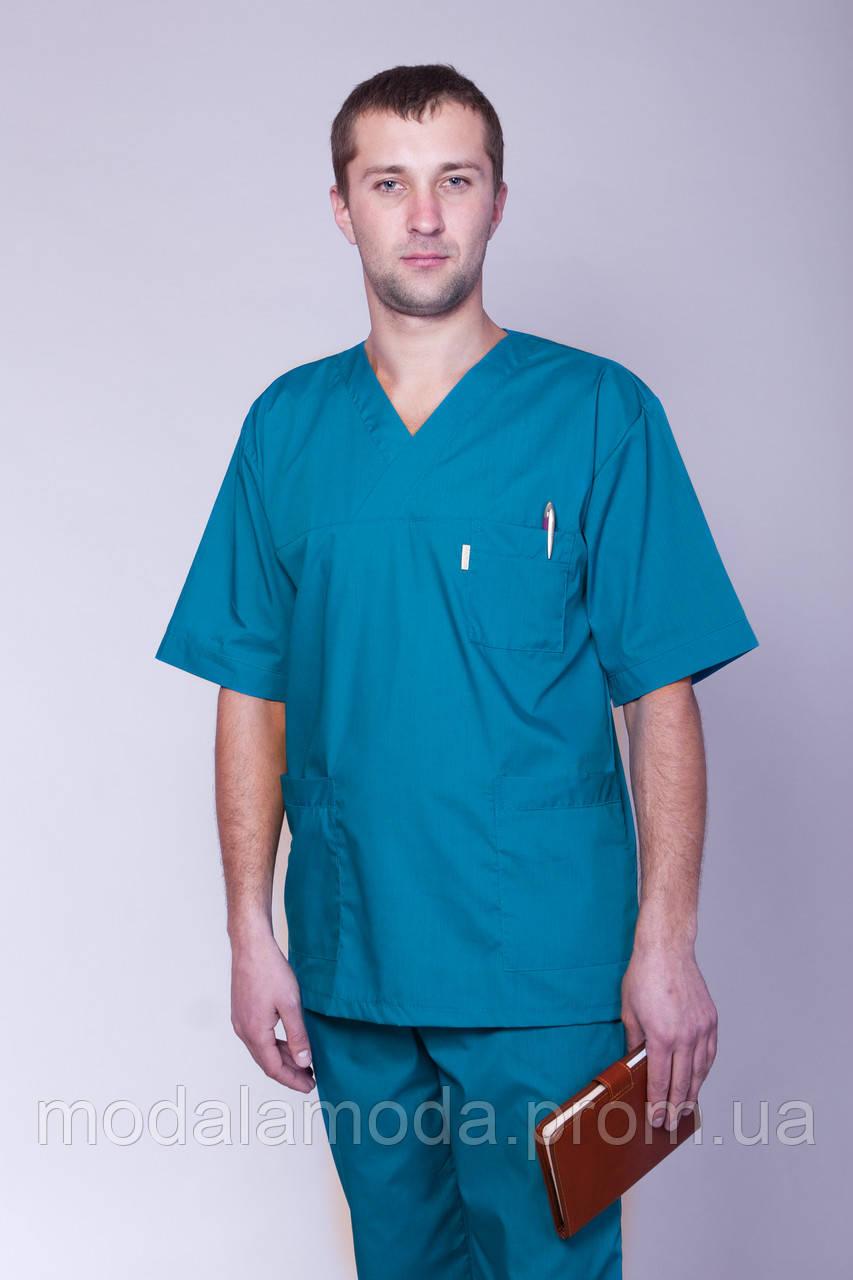 Мужской медицинский костюм голубого цвета однотонный с коротким рукавом