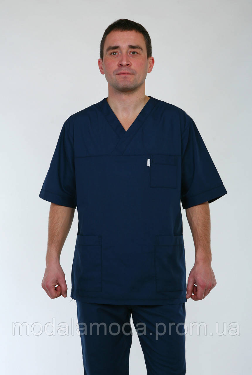 Мужской медицинский костюм классического дизайна с коротким рукавом