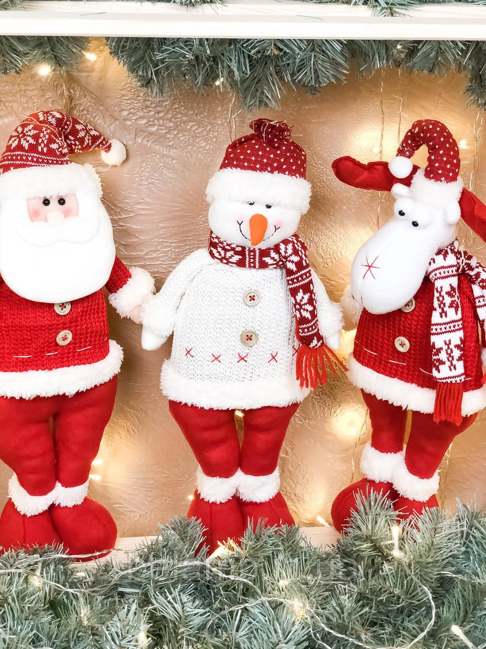 Новогодние украшения в виде деда Мороза, снеговика и оленя «Крутое трио»
