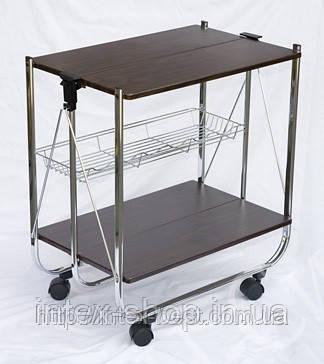 Столик складной сервировочный с ярусом для бутылок «Темный орех». Модель 0201-U