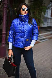 """Стильная женская куртка рукав 3/4 на синтепоне в больших размерах """"Стойка Кнопки"""" в расцветках (2203-7075-1)"""