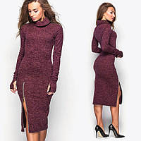Бордовое платье с хомутом Elite (код 100)