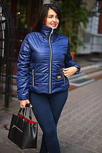 """Стильная женская куртка на синтепоне в больших размерах """"Стойка Змейка"""" в расцветках (2203-7074-1)"""