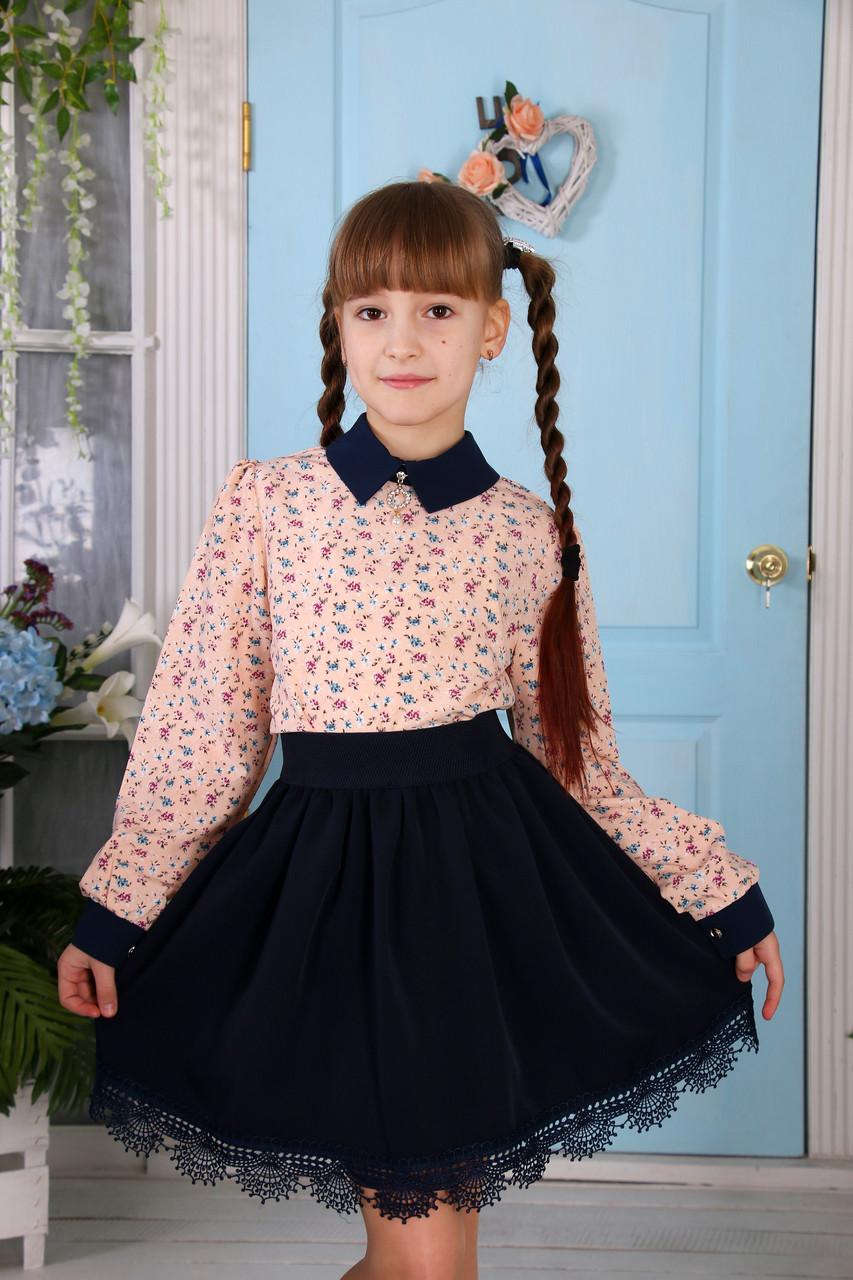 Блузка с длинным рукавом 140-158 на персиковом мелкие цветы