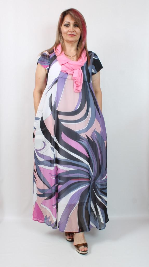 Турецкое летнее платье с оригинальным принтом, 52-64