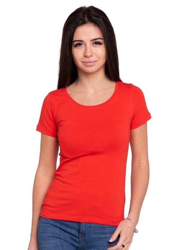 Однотонная футболка женская хлопковая трикотажная без рисунка летняя, красная