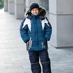 """Детский зимний комбинезон на мальчика """"Сипорт"""" , цвет - джинс, размеры на 1 - 7 лет"""
