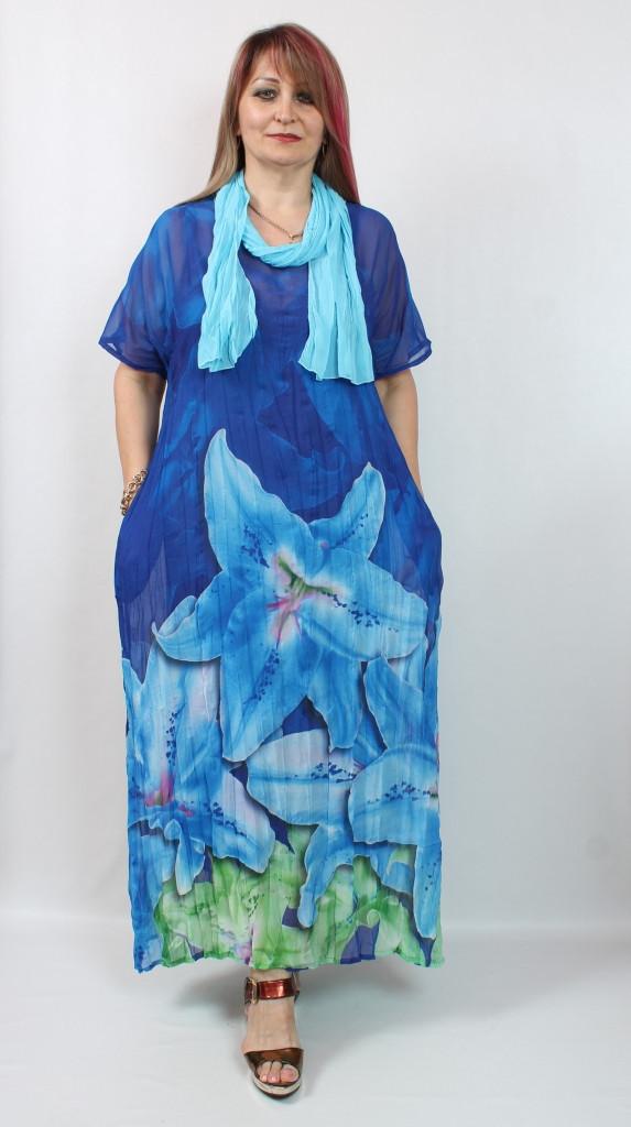 Турецкое летнее длинное платье с цветочным принтом, 52-64