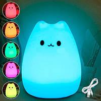 Детский ночной силиконовый светильник Котик