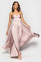 Изысканное шелковое платье в пол на бретелях 49393 (42–46р)  в расцветках