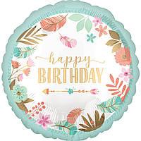 """Happy Birthday Стиль бохо мята сатин 18"""" (45 см) круг Anagram США шар фольгированный"""
