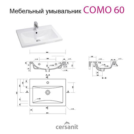 Тумба под раковину для ванной комнаты Симпл-Металлик 60-30 Подвесная с умывальником Комо 60 ПИК, фото 2