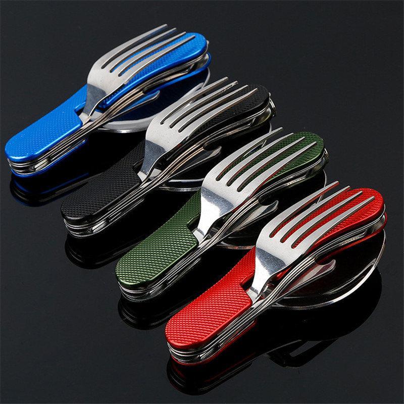 Туристический набор скадной (мультитул) 5 в 1 (ложка, вилка, нож, открывалка, штопор)