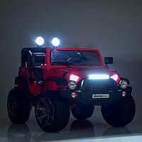 Детский электромобиль Джип Jeep Wrangler M 4111 EBLR-3 красный (белый, черный), колеса EVA, двухместный.