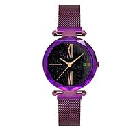Модные фиолетовые наручные женские часы с магнитным браслетом