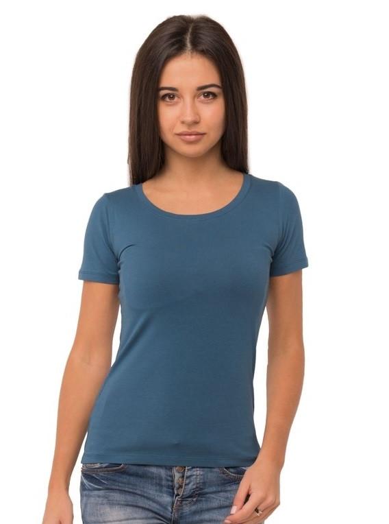 Однотонная футболка женская хлопковая трикотажная без рисунка летняя, морская