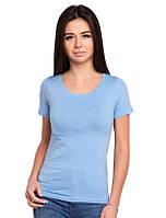 Однотонная футболка женская трикотажная без рисунка летняя, голубая