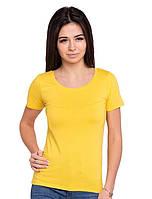Однотонная футболка женская хлопковая трикотажная без рисунка летняя, желтая