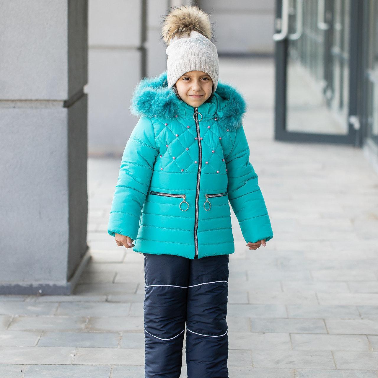 """Детский зимний комбинезон на девочку """"Бусинка"""" , цвет - бирюза, размеры на 1 - 6 лет"""