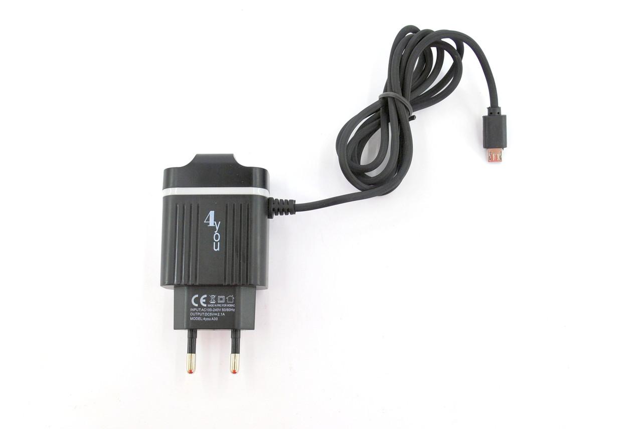 Зарядное устройство 4you A30 (2100mAh - 100%, Micro USB, Цельная, Exclusive design) black